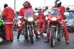 De Fietsers van de kerstman Stock Foto's