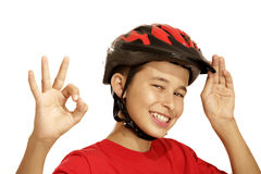De fietshelm van de jongen Royalty-vrije Stock Foto's