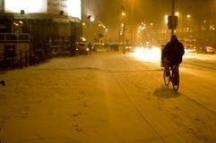 De fietsrit van de winter Stock Afbeelding