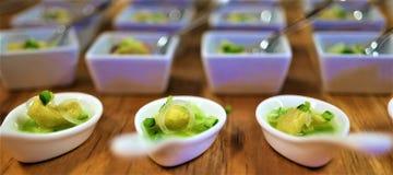 De fijne dinerende winnende chef-kok van de voorgerechttoekenning stock foto's