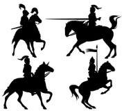 De silhouetten van ridders Stock Fotografie
