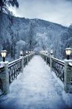 De fijne sneeuwavond in bergen Royalty-vrije Stock Foto's