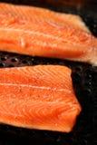 De filet van de zalmregenboogforel op de grill met zuchinni Royalty-vrije Stock Fotografie