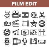 De film geeft uit, de Lineaire Vector Geplaatste Pictogrammen van Filmmaking royalty-vrije illustratie