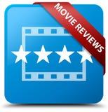 De film herziet cyaan blauw vierkant knoop rood lint in hoek Royalty-vrije Stock Afbeelding