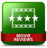 De film herziet groen vierkant knoop rood lint in midden Royalty-vrije Stock Afbeelding
