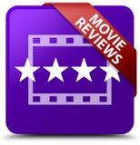 De film herziet purper vierkant knoop rood lint in hoek Royalty-vrije Stock Afbeelding