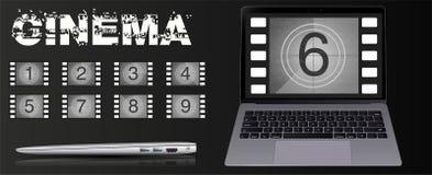 De film op laptop De aantallen vectorreeks van de filmaftelprocedure De aftelprocedure aan het begin van de oude film vector illustratie
