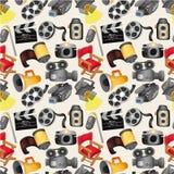 De filmapparatuur van het beeldverhaal naadloos patroon Royalty-vrije Stock Fotografie