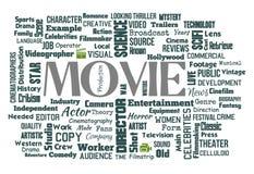 De filmwoorden betrekken witte illustraties als achtergrond stock illustratie