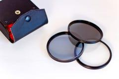 De filter van de foto, polarisator, UV, neutrale dichtheid Royalty-vrije Stock Afbeelding