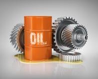 De filters van de autoolie en het blik van de motorolie Stock Afbeelding