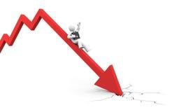 De financiële crisis van de wereld. De dalingen van de zakenman. Royalty-vrije Stock Afbeelding