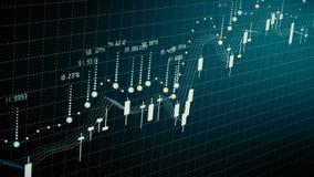 De financiële diagramgroei op stijgende markt die, die de groei tonen en winst verhogen stock footage