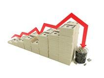 De financiële emmer van het crisisafval Stock Foto