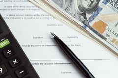 De financiële geldlening, hypotheek, schuld of koopt en verkoopt contractwi stock fotografie