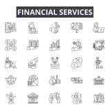 De financiële pictogrammen van de de dienstenlijn voor Web en mobiel ontwerp De tekens van de Editableslag Het financiële concept royalty-vrije illustratie
