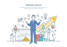 De financiële resultaten, succesvolle bedrijfsstrategieën, verhoogden verkoopdynamica, commerciële welvaart vector illustratie