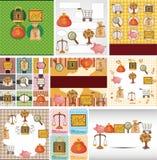 De Financiën van het beeldverhaal & de kaart van het Geld royalty-vrije illustratie