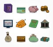 De Financiën van het beeldverhaal & de reeks van het Pictogram van het Geld vector illustratie