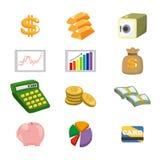 De Financiën van het beeldverhaal & de reeks van het Pictogram van het Geld stock illustratie