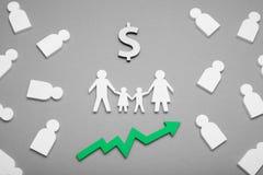De financiëncontant geld van de inkomensfamilie, bedrijfsbescherming stock afbeeldingen