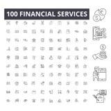 De financi?le pictogrammen van de de dienstenlijn, tekens, vectorreeks, het concept van de overzichtsillustratie royalty-vrije illustratie