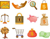 De Financiën van het beeldverhaal & de reeks van het Pictogram van het Geld Royalty-vrije Stock Fotografie