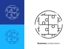 De finition icône puzzle de vecteur de schéma illustration de vecteur