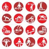 De fitness en de sportpictogrammen van de kleur Stock Foto's