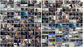 De fitness, sport, parkour, skateboard multiscreen montering stock video