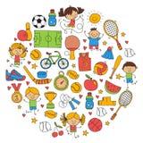 De Fitness van de kinderensport van het het Tennisbasketbal van het Voetbalvolleyball van de de Fiets de Lopende Toekenning sport stock illustratie