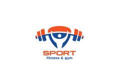 De Fitness van de sportgymnastiek de vectordriehoek van het Embleemontwerp royalty-vrije illustratie