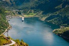 De Fjord van Geiranger (Noorwegen) Stock Foto