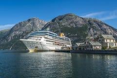 De fjord van het cruiseschip Stock Foto