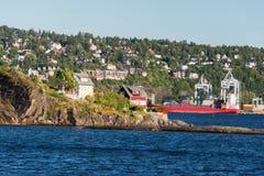 De Fjord van Oslo dichtbij de stad van Oslo Stock Foto's