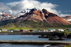 De fjorden van het oosten in IJsland Stock Foto's