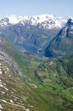 De Fjorden van Noorwegen Geiranger - Mening Stock Fotografie