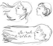 De fladderende wind van het haar stock illustratie