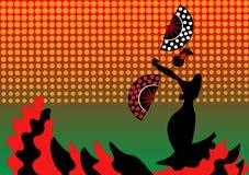 De flamencodanser, silhouetteert mooi Spaanse in lange kleding met ventilator Royalty-vrije Stock Afbeeldingen