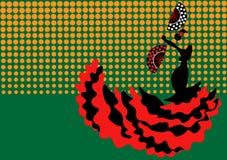 De flamencodanser, silhouetteert mooi Spaanse in lange kleding met ventilator Royalty-vrije Stock Foto's