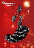 De flamencodanser, silhouetteert mooi Spaanse in lange rode kleding met ventilator Royalty-vrije Stock Foto