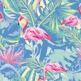De flamingo in abstract blauw gebladerte gaat backgound weg Stock Foto