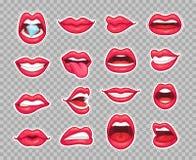De flarden van suikergoedlippen De uitstekende jaren '80 vormen stickers met meisje die tong en gebeten lip met rode lippenstift  royalty-vrije illustratie