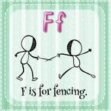De Flashcardbrief F is voor het schermen Stock Foto