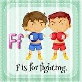 De Flashcardbrief F is voor het vechten Royalty-vrije Stock Fotografie