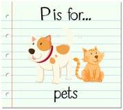 De Flashcardbrief P is voor huisdieren vector illustratie