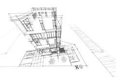 De flat 3d illustratie van de architectuurtekening Stock Foto's