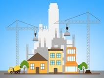 De flatbouw beschrijft 3d Illustratie van de Bouwflatgebouwen met koopflats Stock Fotografie