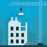 De flatbouw toont 3d Illustratie van de Bouwflatgebouwen met koopflats Stock Afbeelding